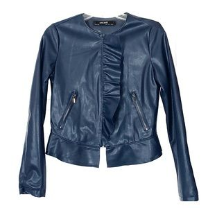 Zara faux leather navy jacket